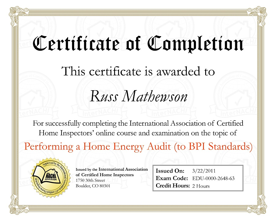Certification Page | Ridgecrest Home Inspection Service